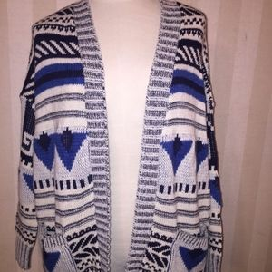 Ecote Tribal Aztec Blue White Open Cardigan Ovrsz